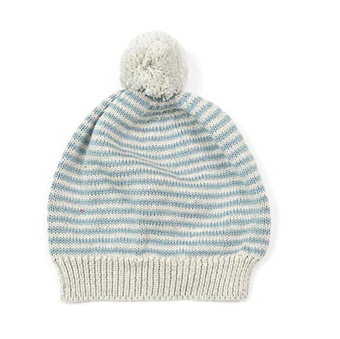 Stripey blue cotton beanie hat | Indus | Lucas loves cars