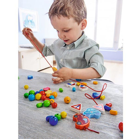 HABA Wooden threading cars beads  | Wooden toys Australia | Lucas loves cars