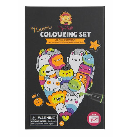 Neon Colouring Set Glow Friends | Tiger Tribe | Lucas loves cars