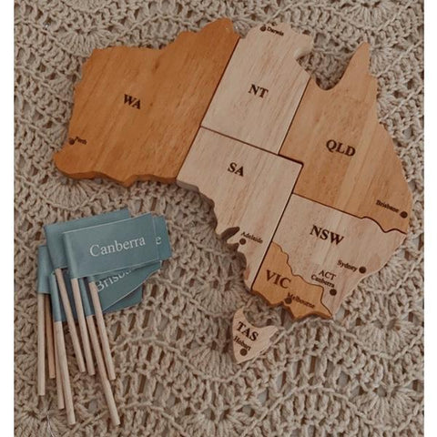 Wooden Australian Map Puzzle | Australian toy store | Australian kids gifts | Lucas loves cars