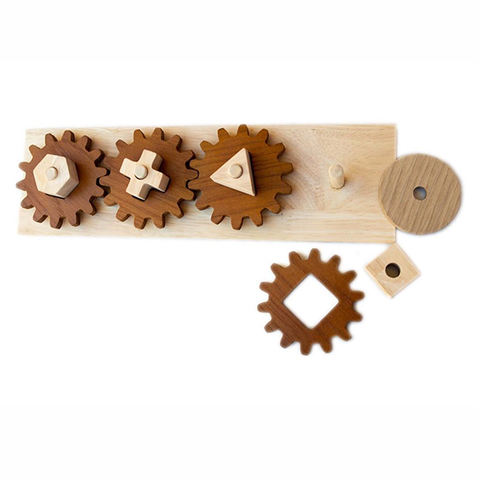 Wooden Gears shape Puzzle | montessori toys  | Qtoys | Lucas loves cars