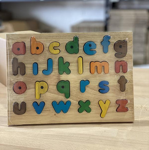 wooden alphabet lower case puzzle | Australian toys store | letter puzzle | Lucas loves cars