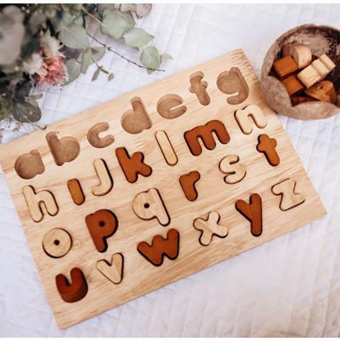 Natural wooden alphabet lower case puzzle | Australian toys store | Lucas loves cars