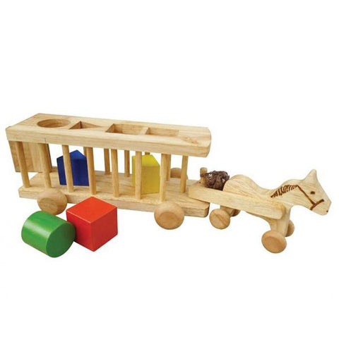 Wooden sorting horse cart | qtoys | Lucas loves cars