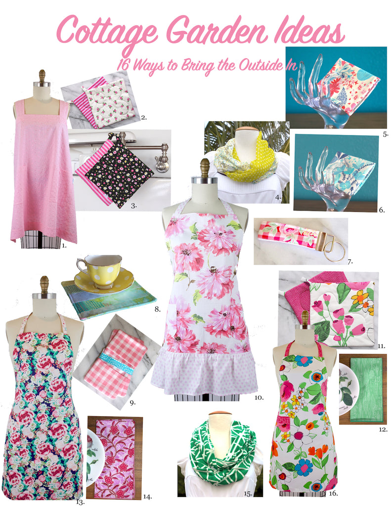 The Blue Peony Spring Garden Product Ideas, Aprons, Cloth Napkins, Summer Scarves and Potholders
