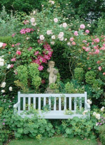 Roses Archway Statuary and Garden Bench