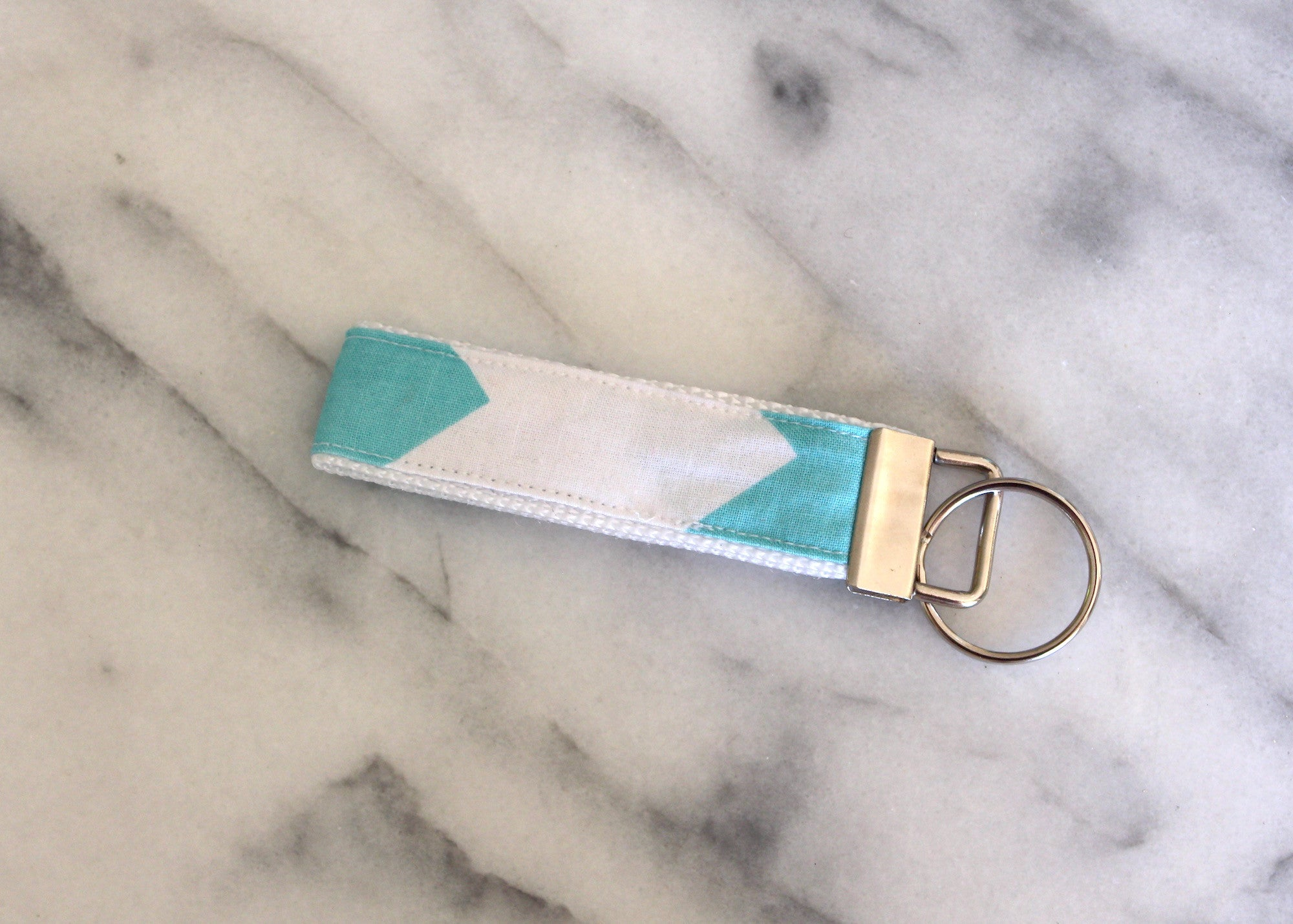 Aqua Chevron Key Fob