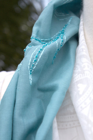 Beaded Teal Infinity Scarf