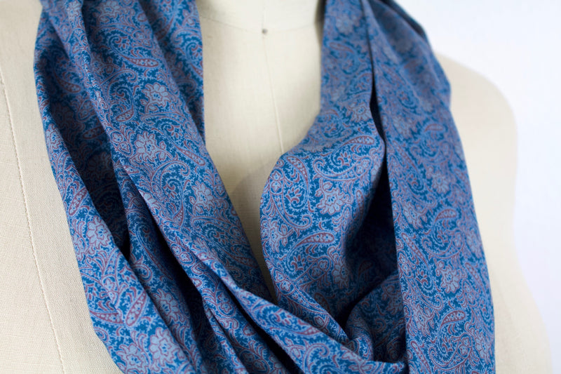 Blue Paisley Infinity Scarf