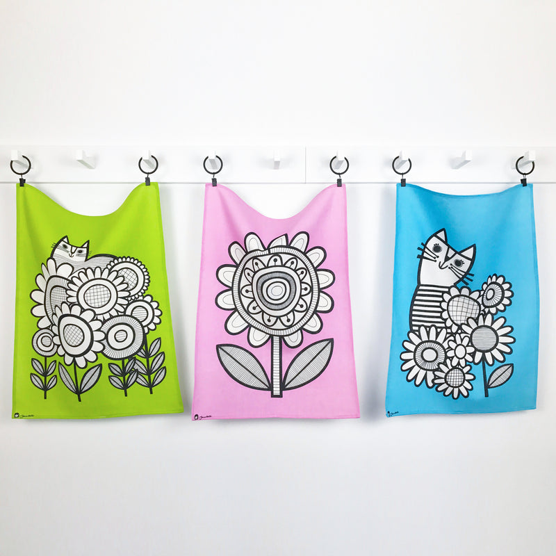 Bright Kitty Tea Towels (Set of 3)