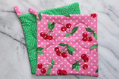Cherry Dot Potholder - Pink