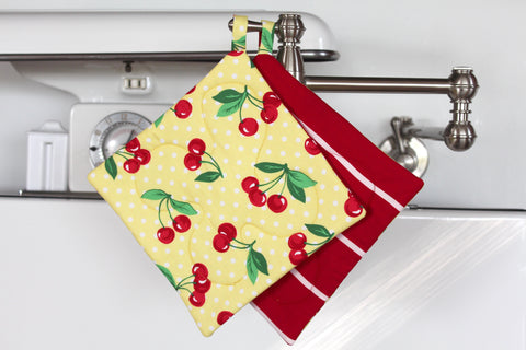 Cherry Dot Potholder - Yellow