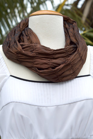 Chocolate Silk Infinity Scarf