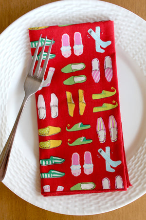Christmas Slippers Napkins (Set of 4)