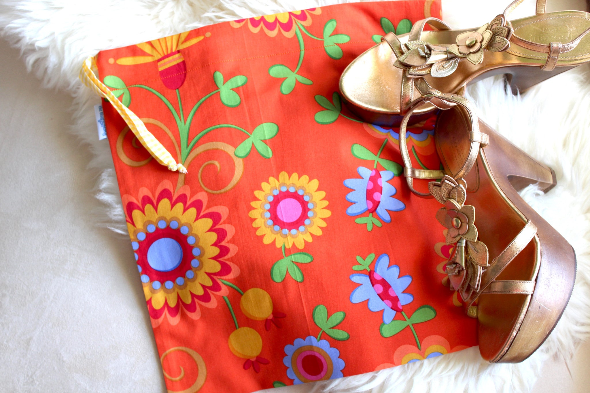 Dancing Flowers Shoe Bag / Lingerie Bag