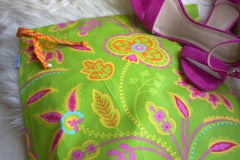 Garden Party (Lime) Shoe Bag / Lingerie Bag