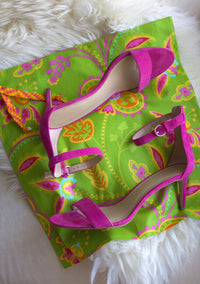 Garden Party (Lime) Drawstring Travel Bag