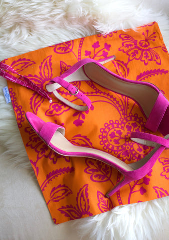 Garden Party (Orange) Shoe Bag / Lingerie Bag