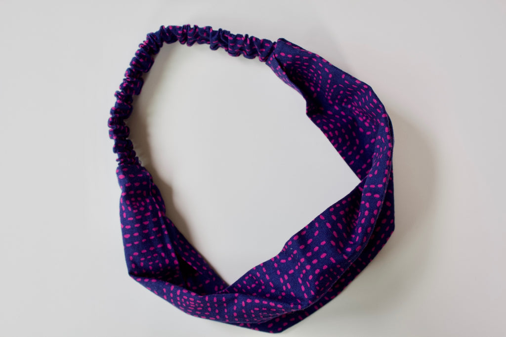 Headband in Navy and Raspberry Stitch