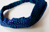 Headband in Navy and Teal Stitch