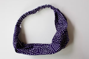 Headband in Navy and White Stitch