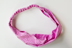 Headband in Pink Stitch Squares