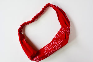 Headband in Pink and Red Kisses