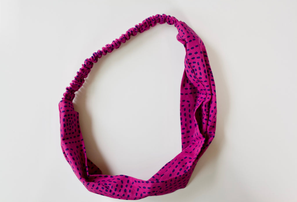 Headband in Raspberry Stitch Squares