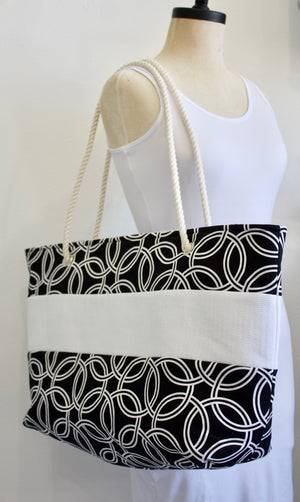 Black and White Large Tote Bag with rope handles