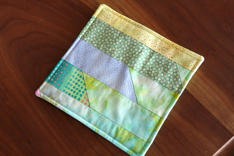 mug rug, coaster, vintage quilt, hot drink, cold drink, hostess gift, house warming gift, holiday, exchange