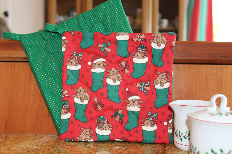 Puppies for Christmas Potholder