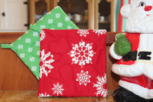 Red Snowflake Christmas Potholder