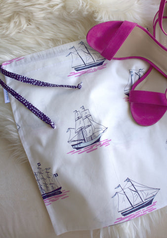 Ship's Ahoy (Blue Tie) Shoe Bag / Lingerie Bag