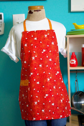 Spider's Web Kid's Apron - Red