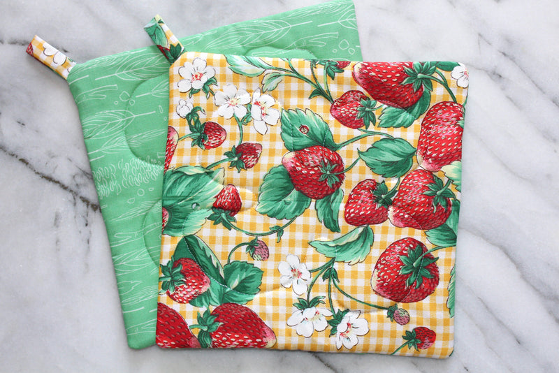Strawberry Patch Potholder - Yellow