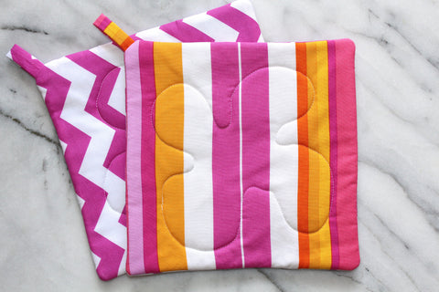 Summer Soiree Potholder - Pink Chevron