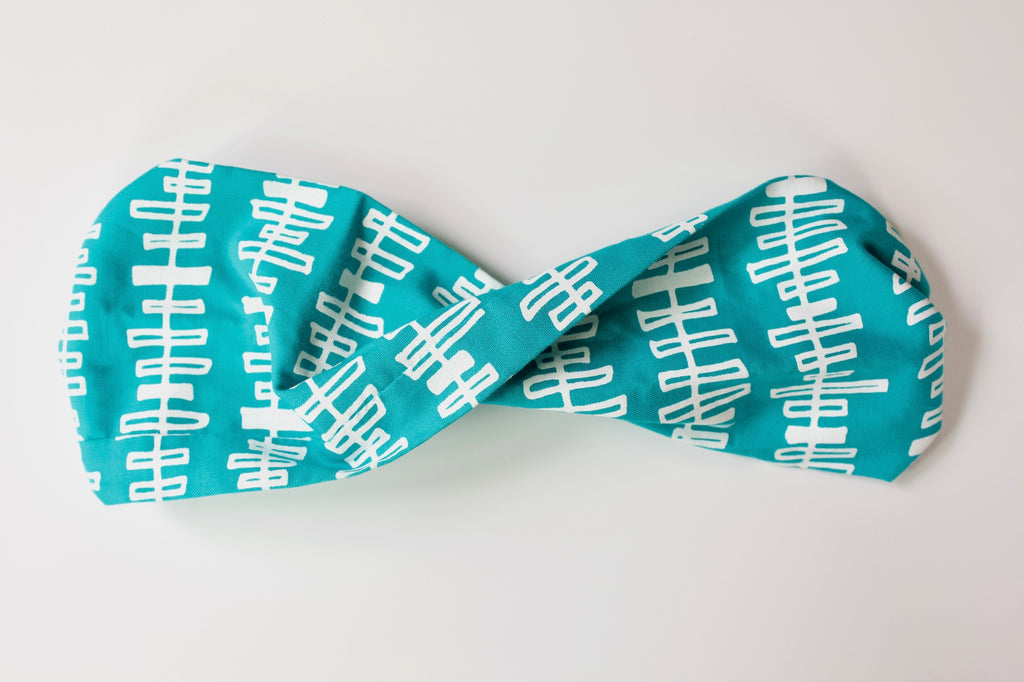 Twist Headband in Teal Chords
