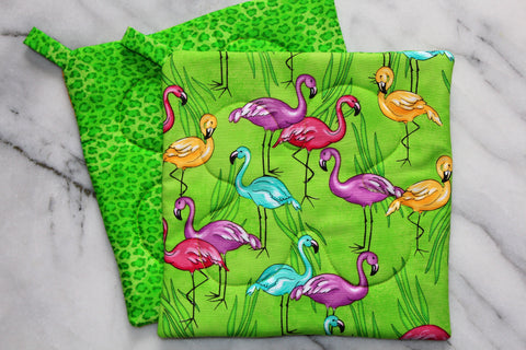 Neon Flamingo Potholder