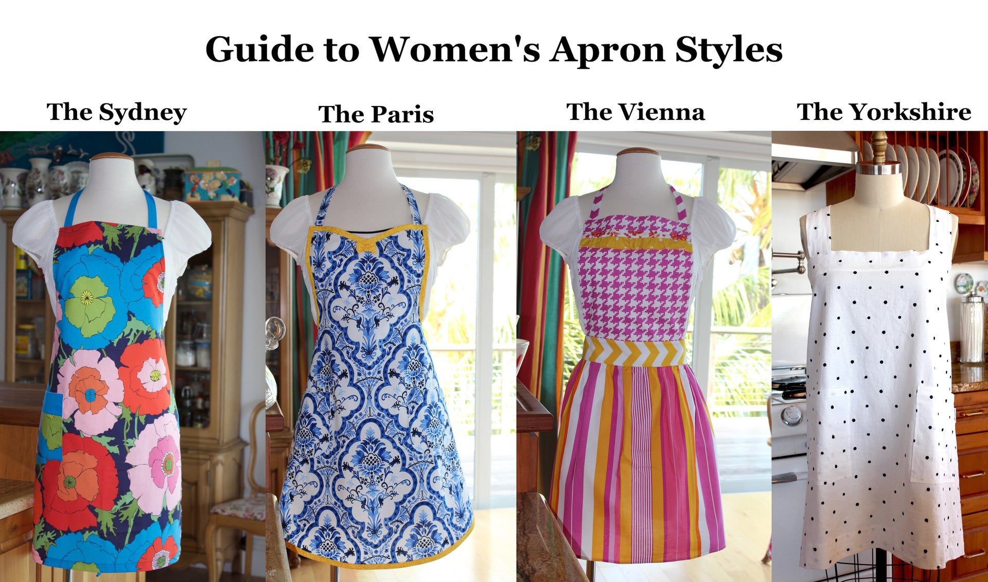 Four different women's apron styles