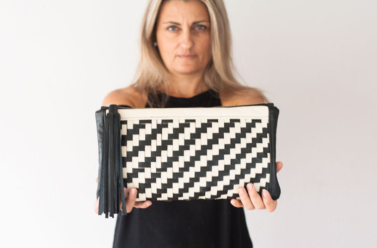 The Leto handwoven clutch in black
