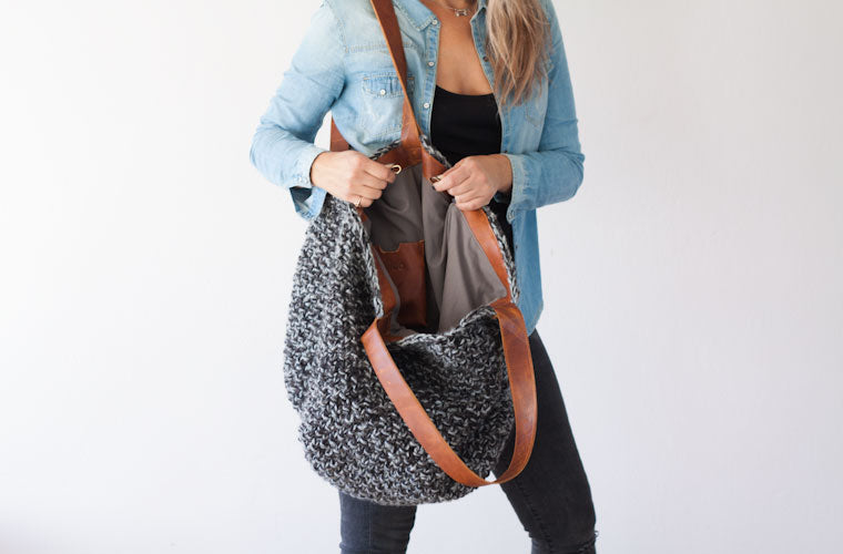 The Athena hobo bag in grey yarn and brown leather interior by milloo