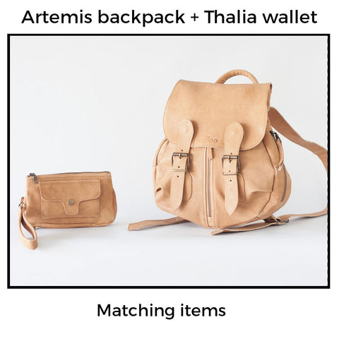 Artemis backpack and thalia wallet by milloo bags