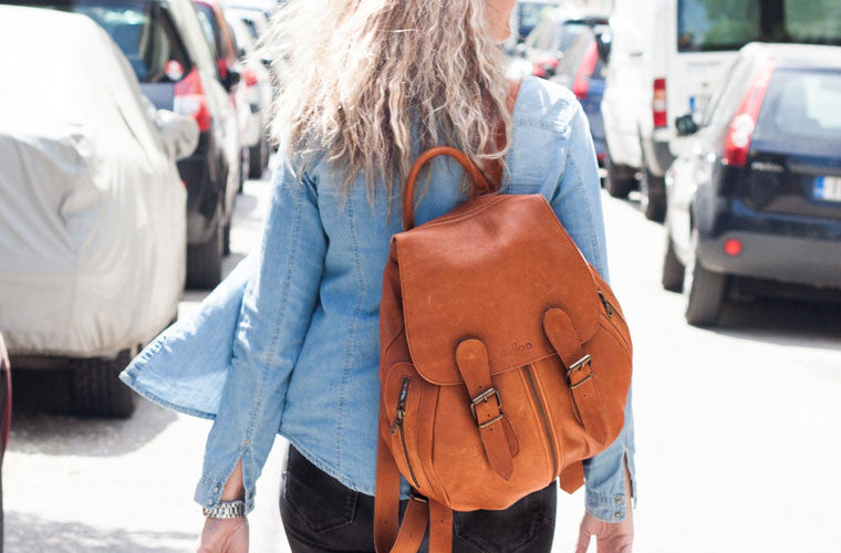 The Artemis backpack in brown leather by milloo