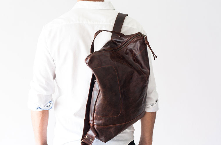 The Minos backpack in brown leather by milloo