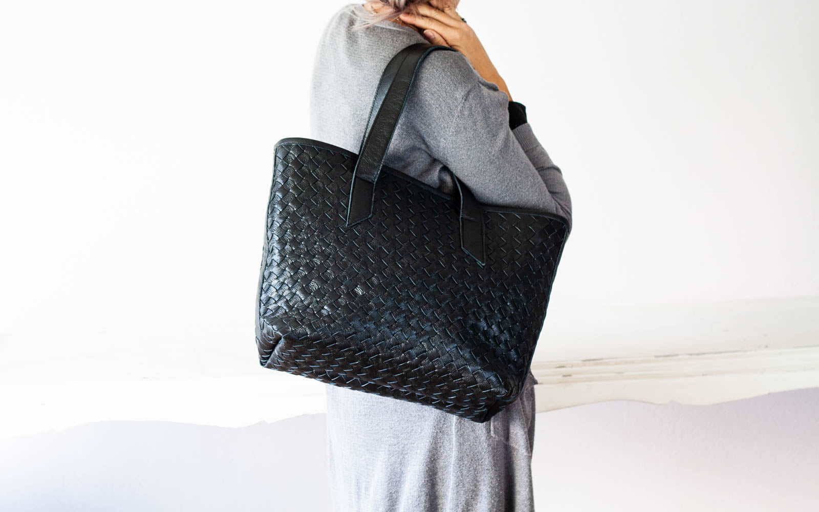 The Calisto tote bag in black handwoven leather by milloo bags