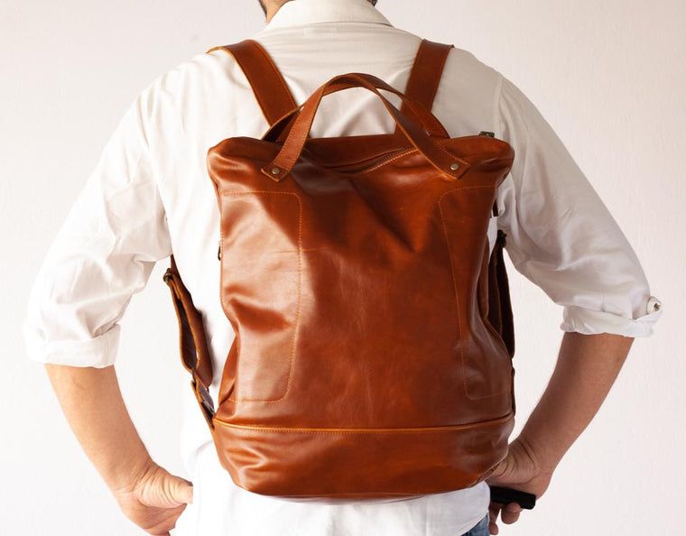 The Minos No2 leather backpack in brown pullup cowhide by milloo