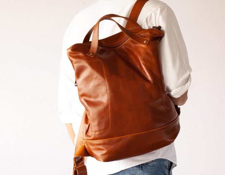 The Minos No2 leather backpack in brown cowhide by milloo