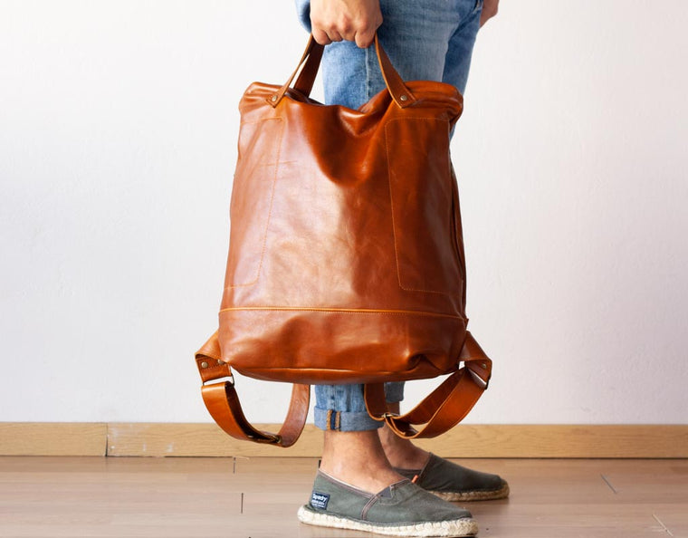 The Minos No2 leather backpack in brown cowhide by milloo bags