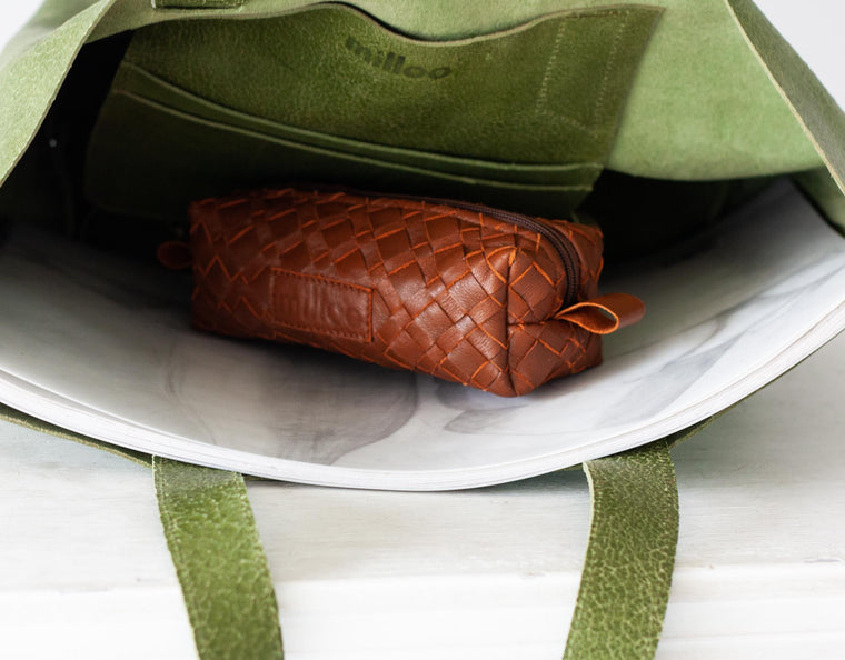 The Rec pencil case in brown handwoven leather by milloo