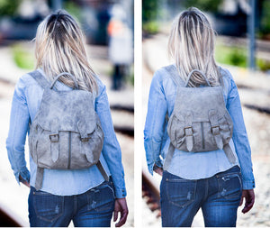 The Artemis backpack in grey leather mini size by milloo